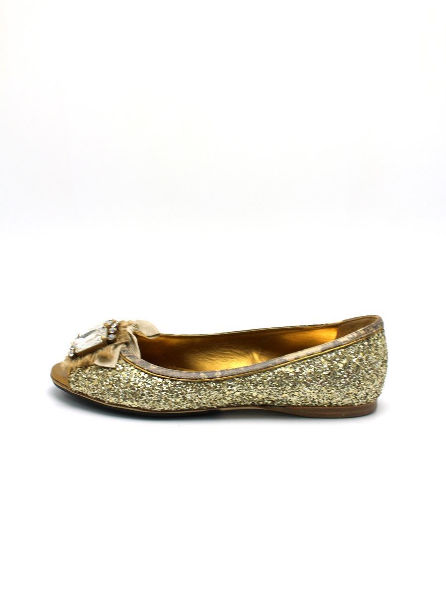 MIUMIU ミュウミュウ 靴 パンプス フラット ラメ【37】【Aランク】【中古】tn300527t