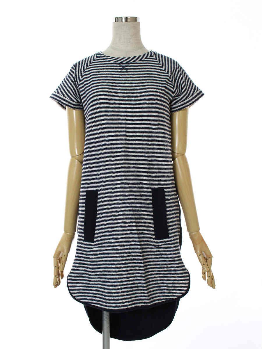 FOXEY NEWYORK フォクシー ワンピース Navy Stripe Combo Dress【38】【Bランク】【中古】tn300607t