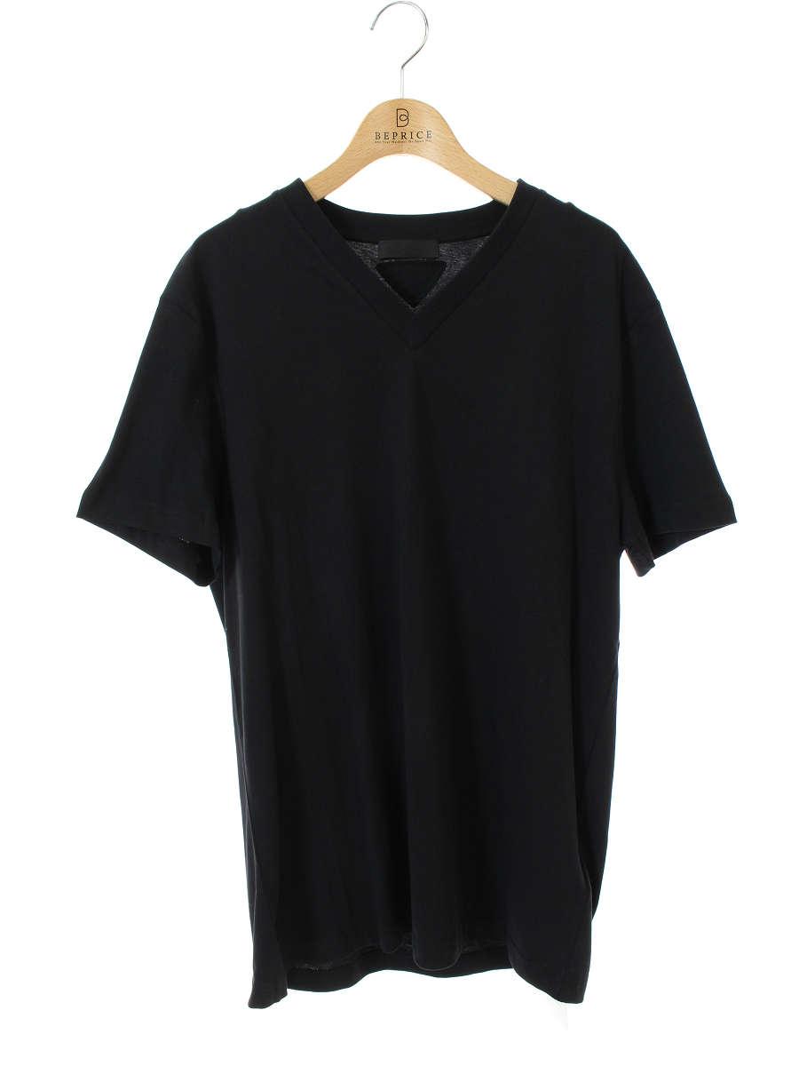 プラダ Tシャツ カットソー Vネック 半袖 M【Aランク】【中古】tn301213