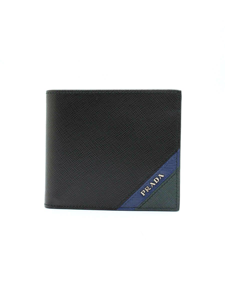 プラダ 財布 二つ折り サフィアーノ ワンポイント【Sランク】【中古】tn301230