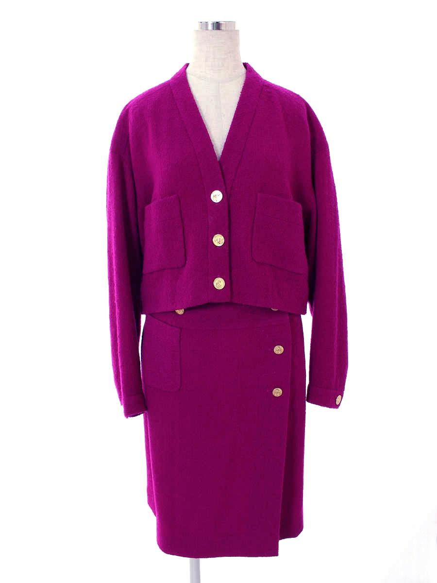 シャネル スカートスーツ 20381 Vintage ココ パープル 無地 長袖 40/40【Bランク】 【中古】 tn190317