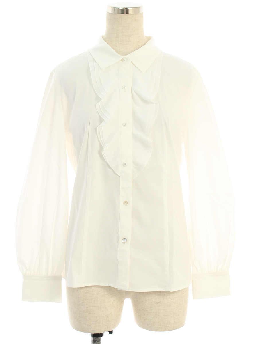 エムズグレイシー シャツ ブラウス パールボタン フリル 長袖 40【Aランク】 【中古】tn190411