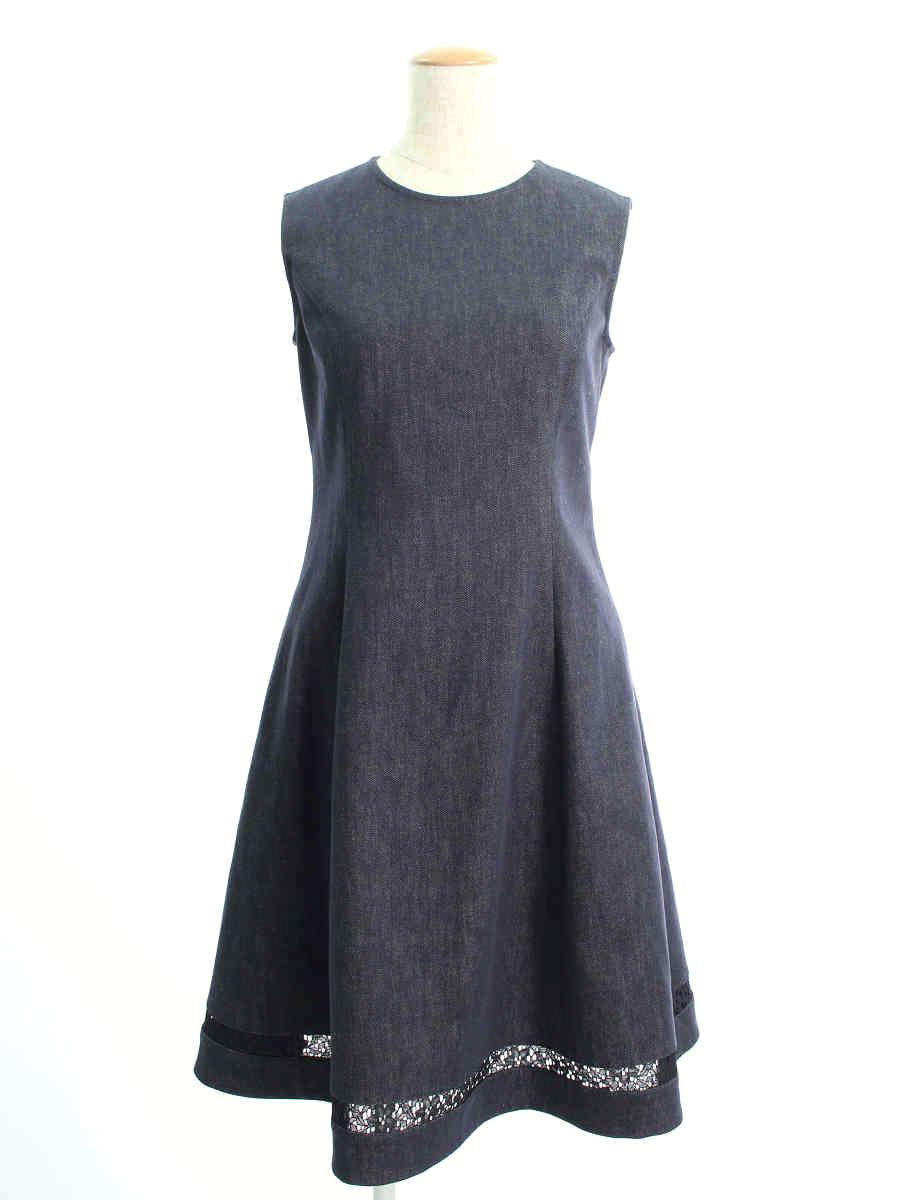 フォクシーニューヨーク ワンピース 39369 Dress INDIGO ノースリーブ 38【Aランク】【中古】tn190526