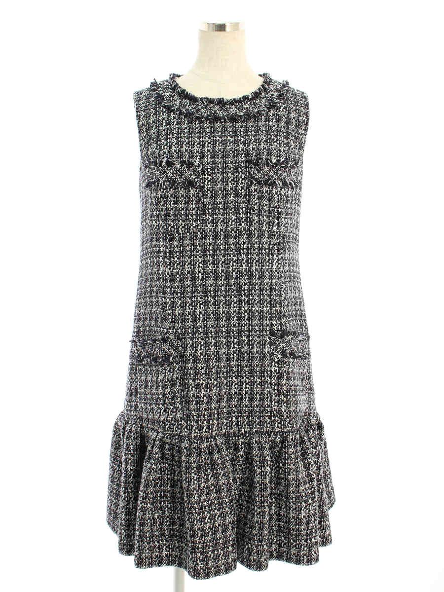 フォクシーブティック ワンピース Dress ツイード 無地 ノースリーブ 38【Bランク】 【中古】 tn190602
