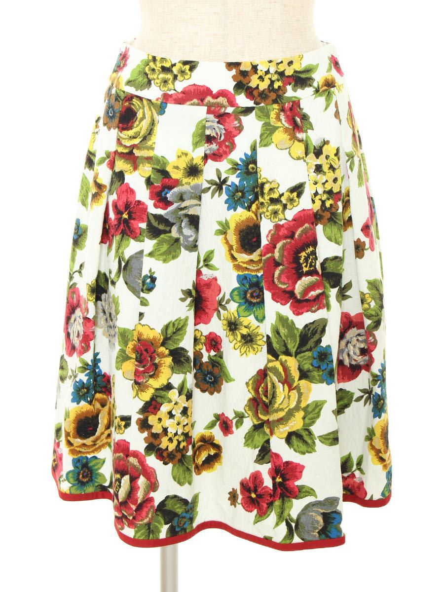 エムズグレイシー スカート フラワーモチーフ 花柄 38【Aランク】【中古】tn190530