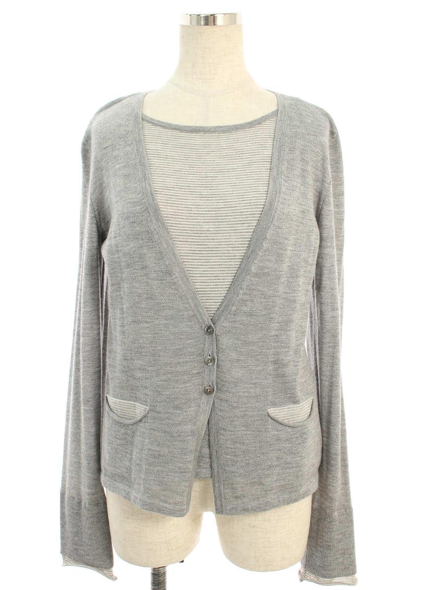 フォクシーブティック ニット セーター 32597 Layered Sweater ボーダー 長袖 40【Aランク】【中古】tn190630