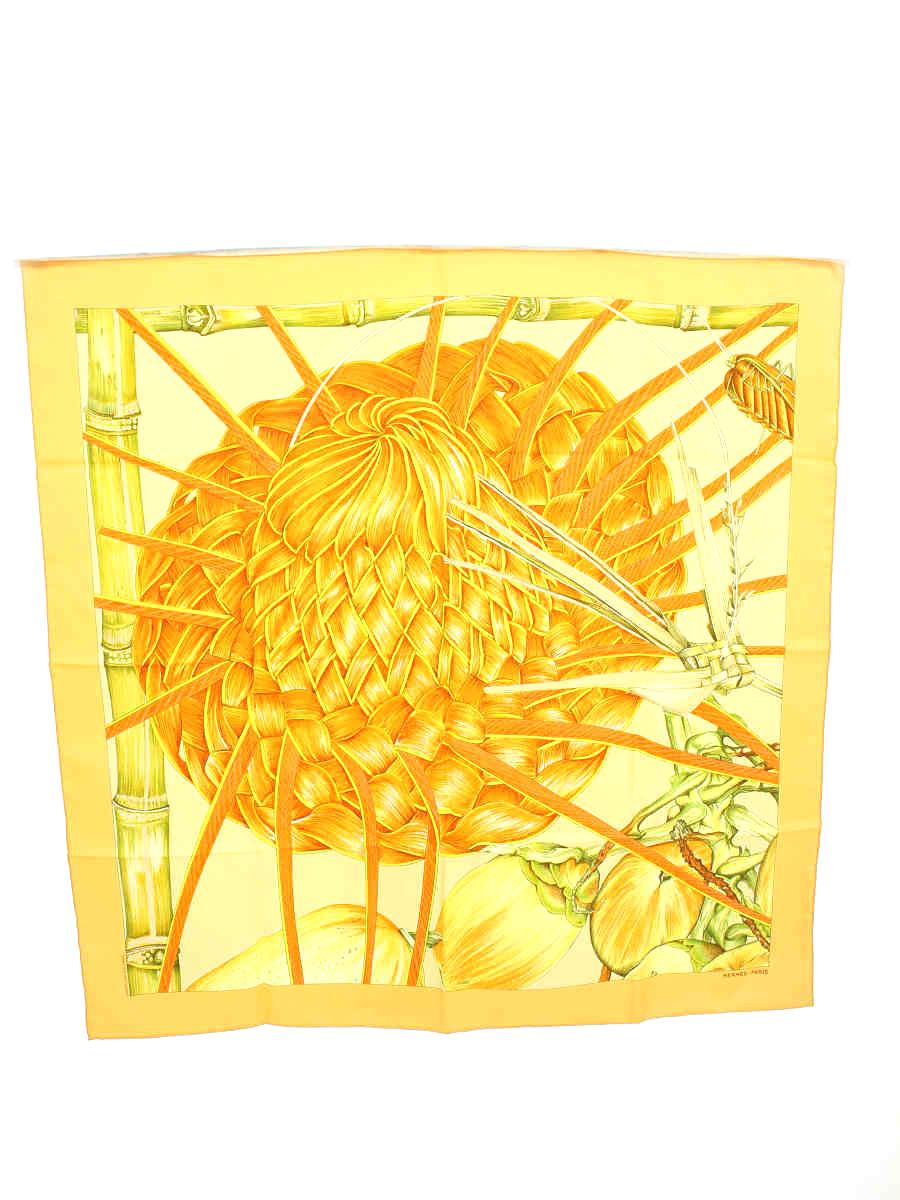 エルメス スカーフ カレ90 JARDIN CREOLE クレオルの楽園 シルク 総柄【Aランク】【中古】tn190630
