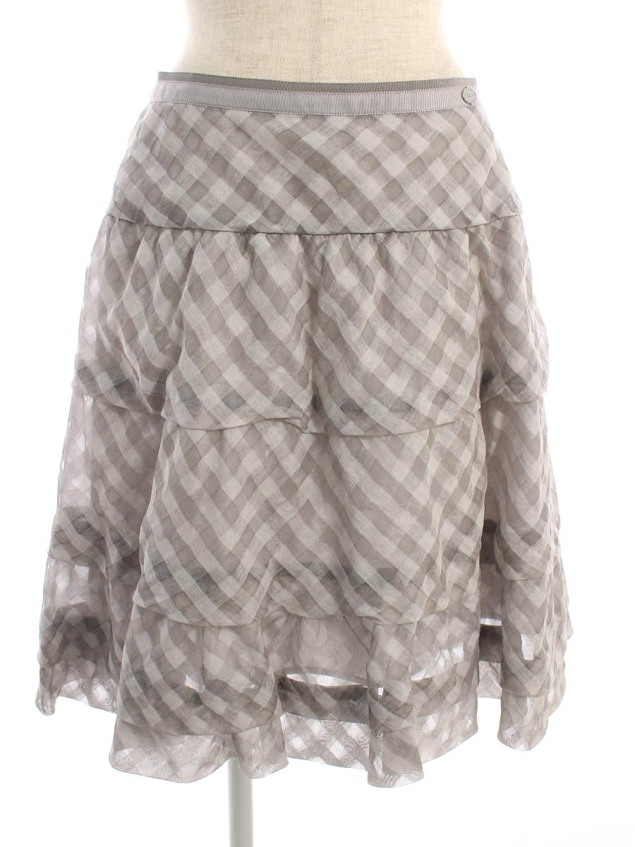 フォクシーブティック スカート 35919 Skirt Cloud Check チェック 40【Aランク】【中古】tn190725