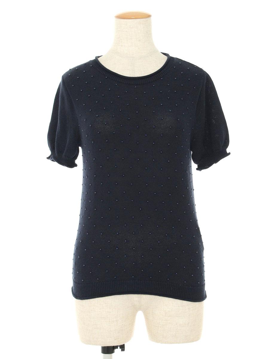 フォクシーブティック ニット セーター 34279 Petits Pois ビジュー 半端袖 40【Aランク】【中古】tn190808