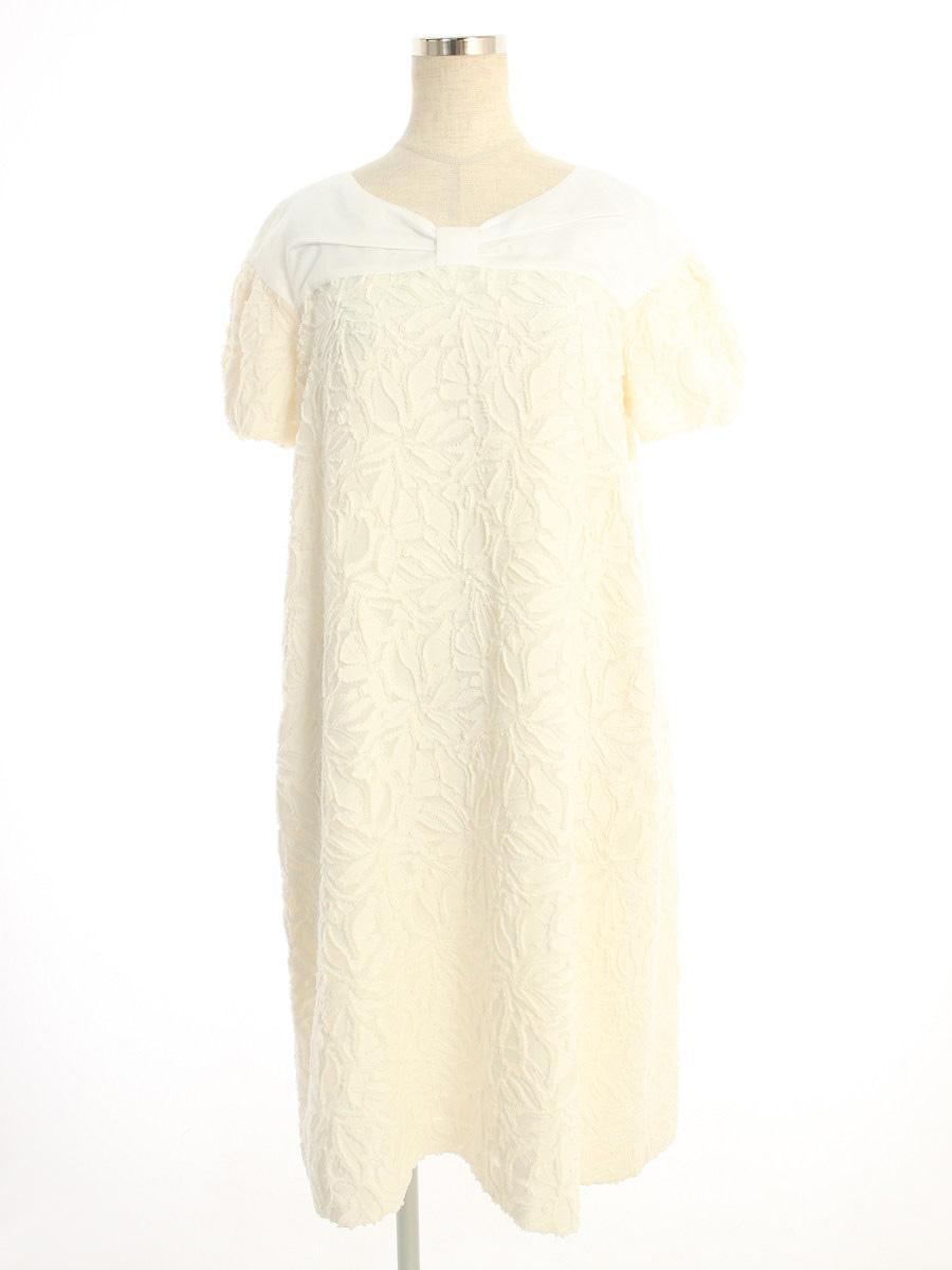 フォクシーニューヨーク collection ワンピース コットンBLEND 刺繍 半袖 40【Aランク】【中古】tn190804