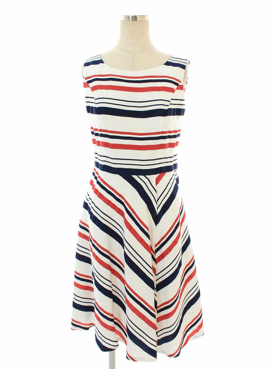 エムズグレイシー ワンピース Green x Black Stripes Dress ボーダー ノースリーブ 38【Sランク】【中古】tn190915