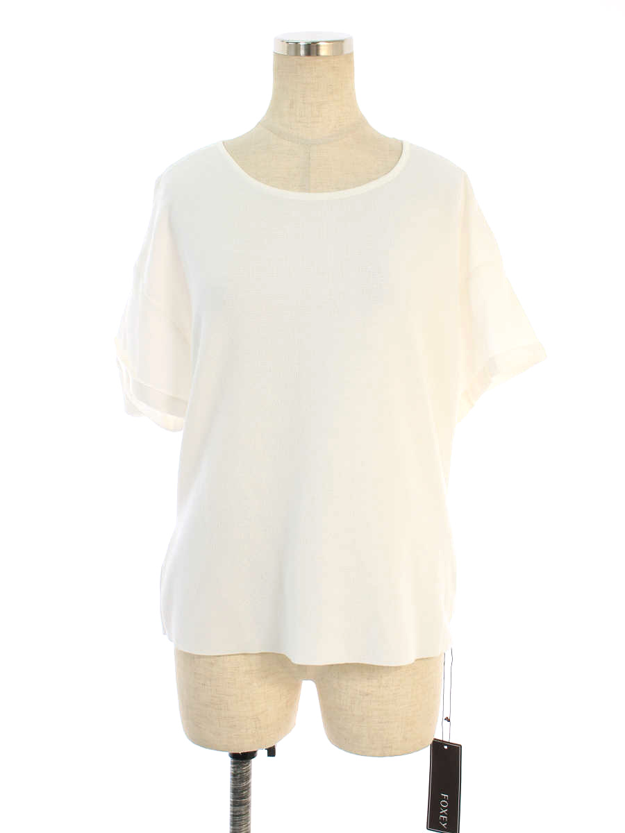 フォクシーブティック Tシャツ カットソー Knit Top Back Ribbon 半袖 42【Aランク】【中古】tn191006