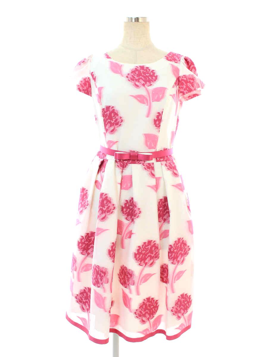エムズグレイシー ワンピース Jacquard Pink Dress 花柄 半袖 36【Bランク】【中古】tn191003