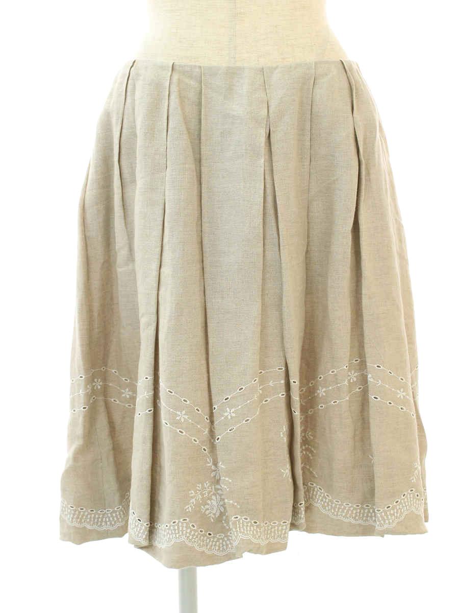 フォクシーブティック スカート Linen Fiower 刺繍 40【Aランク】【中古】tn191003