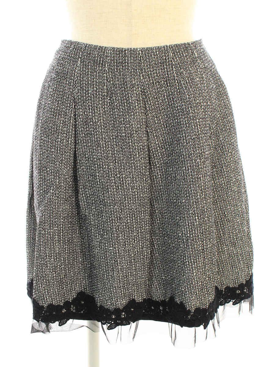 エムズグレイシー スカート ツイード フラワーモチーフ 花柄 36【Aランク】【中古】tn191024