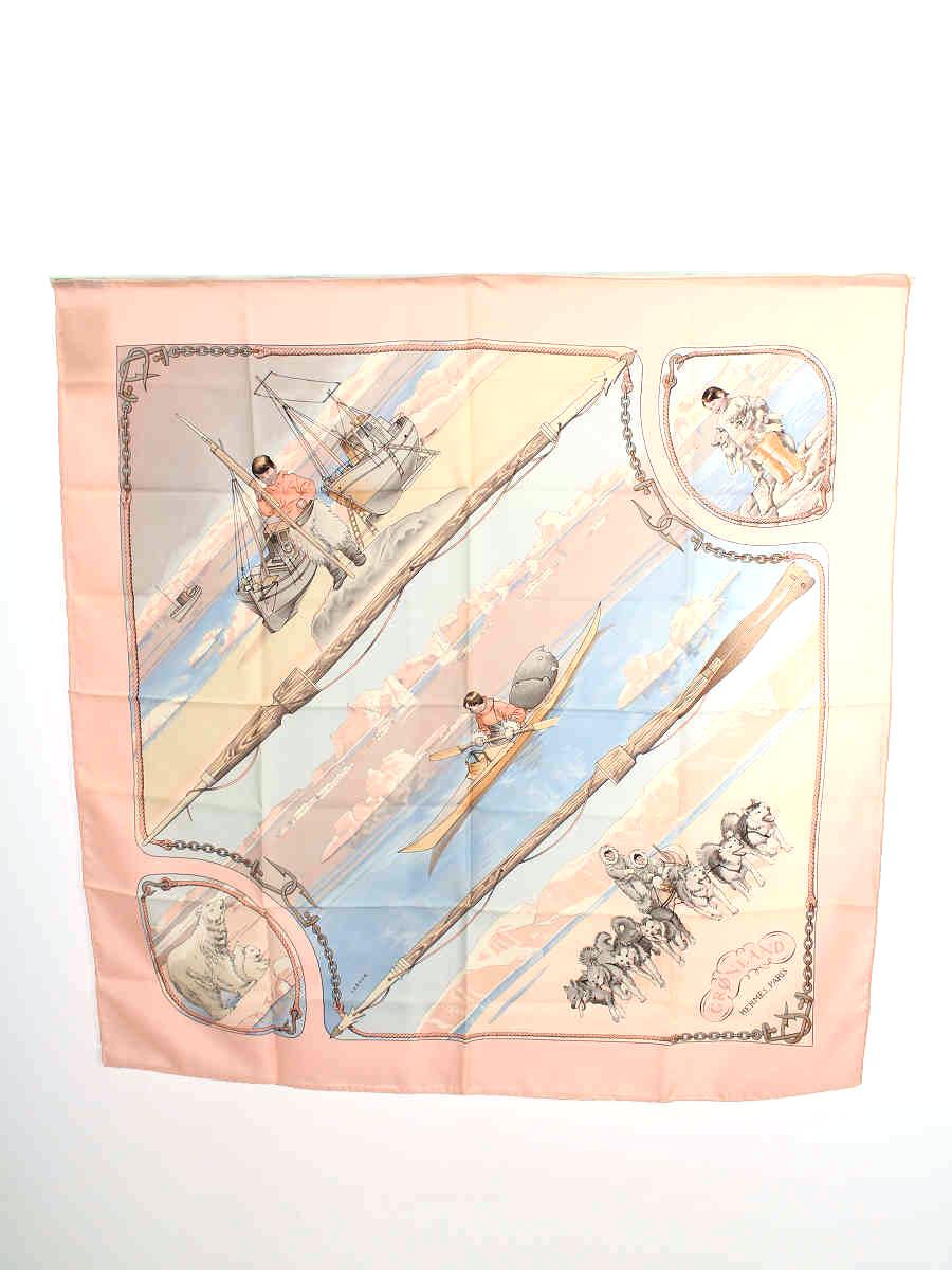エルメス スカーフ 犬ソリ シロクマ 総柄【Aランク】【中古】tn191114