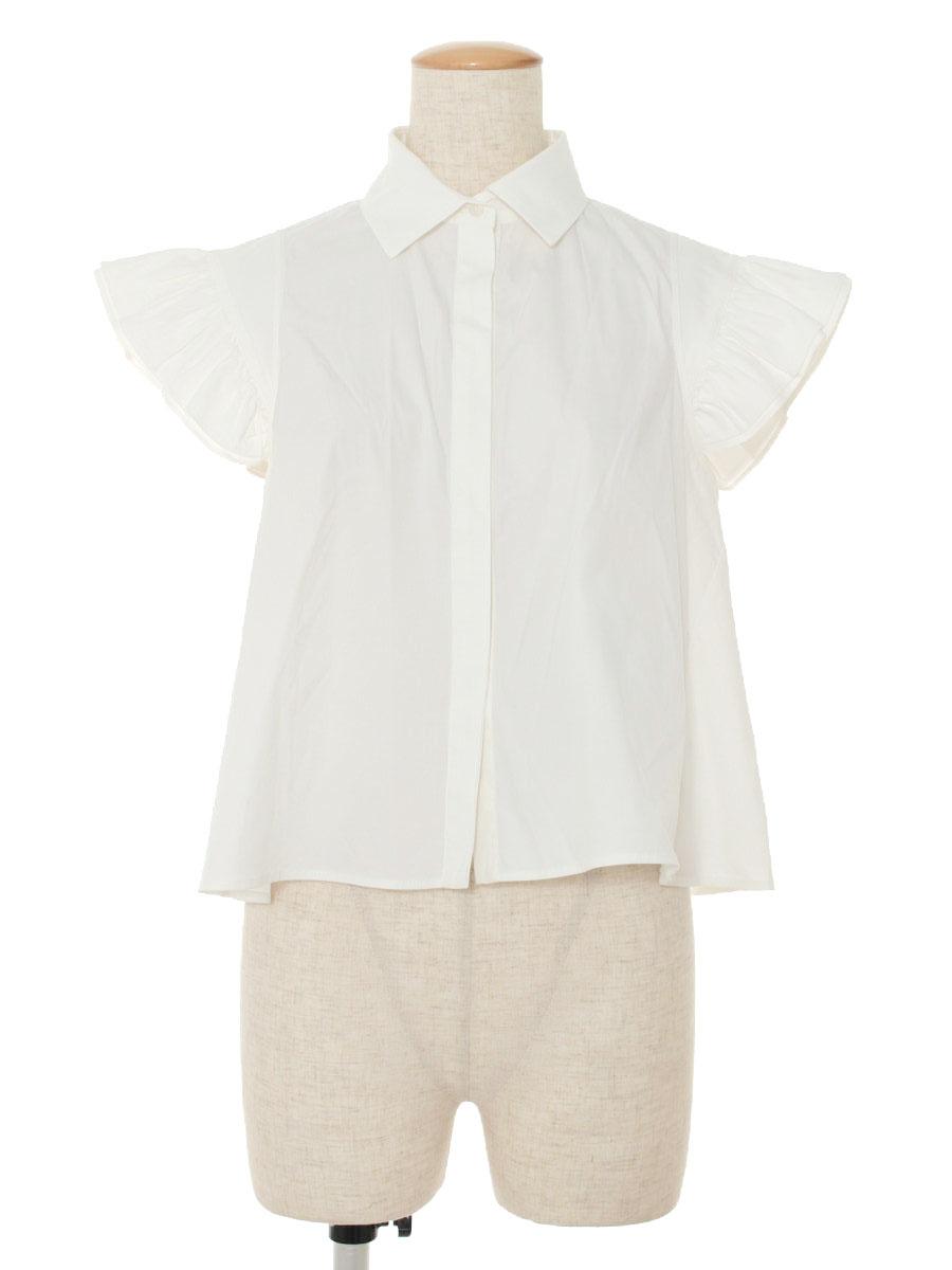 フォクシーブティック シャツ ブラウス 36795 Ruffle Sleeve Blouse 無地 半袖 38【Bランク】 【中古】 tn191121