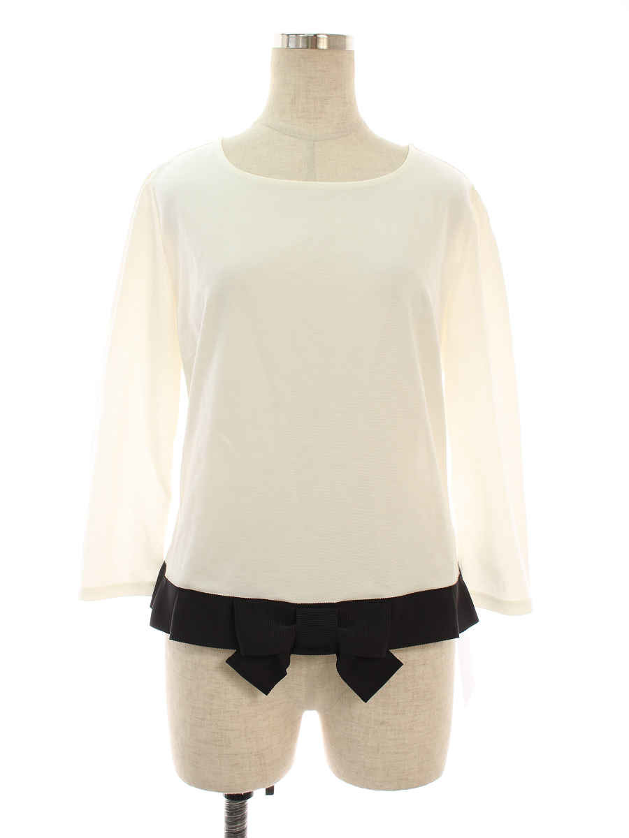 エムズグレイシー Tシャツ カットソー Bicolor Cut sew リボン 半端袖 40【Aランク】 【中古】 tn191201