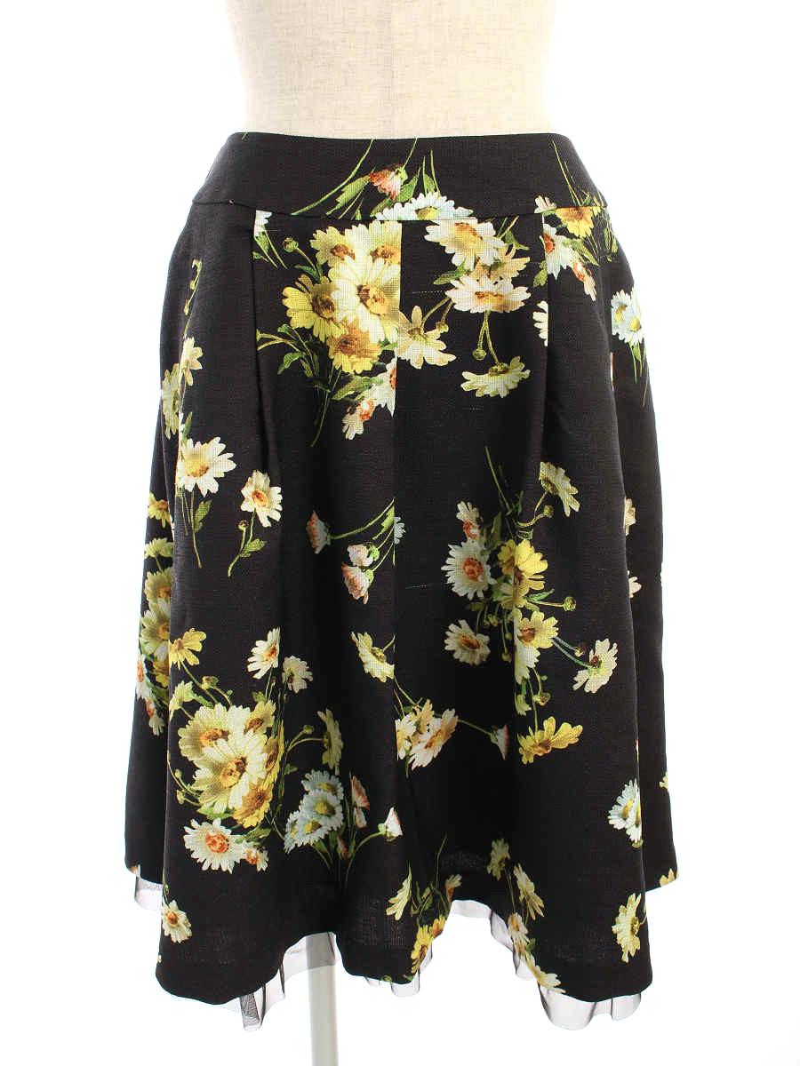 エムズグレイシー スカート フラワーモチーフ 裾レース 花柄 40【Aランク】【中古】tn191229