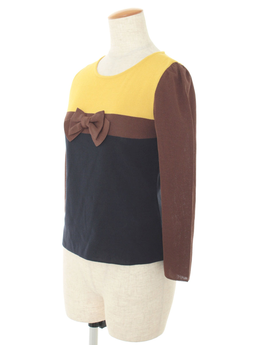エムズグレイシー ニット セーター リボン 切替 半端袖 38 Aランク tn200109O0Pnkw