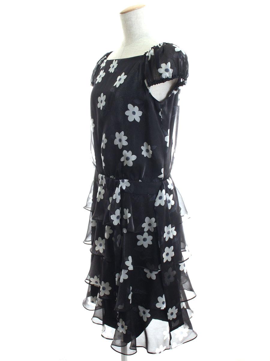 エムズグレイシー ワンピース 花柄 オーガンジー ティアード 花柄 半袖 40 Aランク tn200112OPXZuki