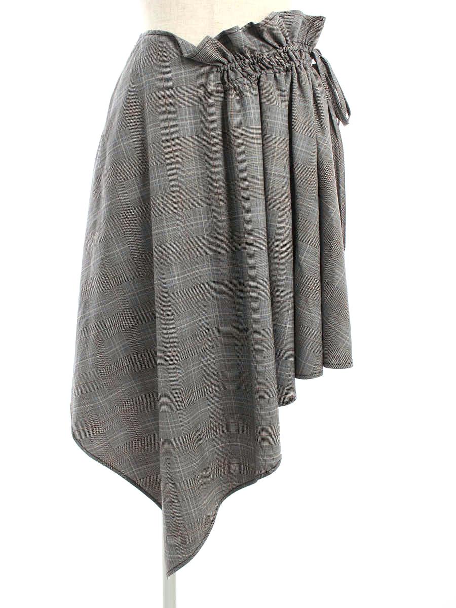 アディアム スカート 40502 チェック柄 ウエストギャザー チェック 2【Aランク】【中古】tn200209