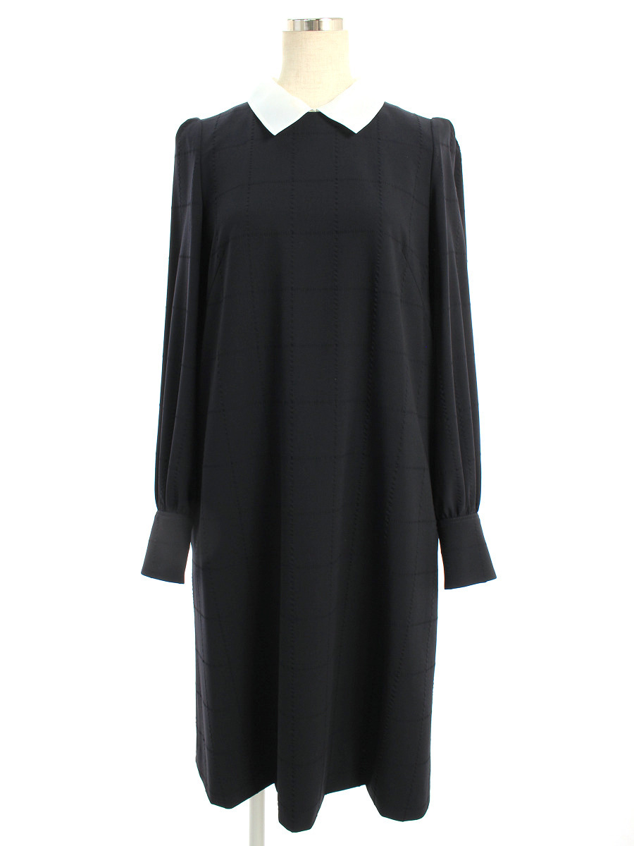 フォクシーブティック ワンピース 38127 Dress ミッドナイトブルー チェック 長袖 38【Aランク】【中古】tn200319