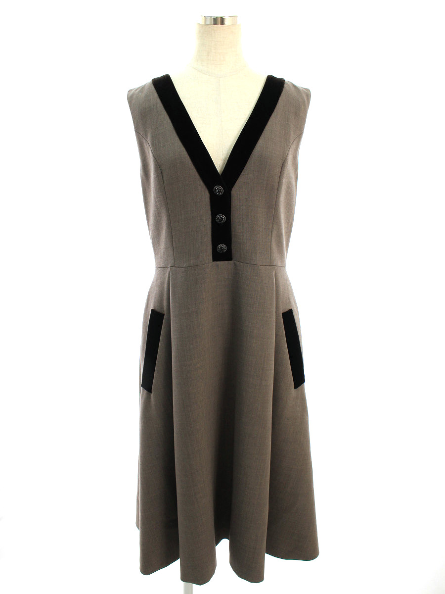 フォクシーブティック ワンピース 40397 Dress ビジュー ノースリーブ 40【Aランク】【中古】tn200326