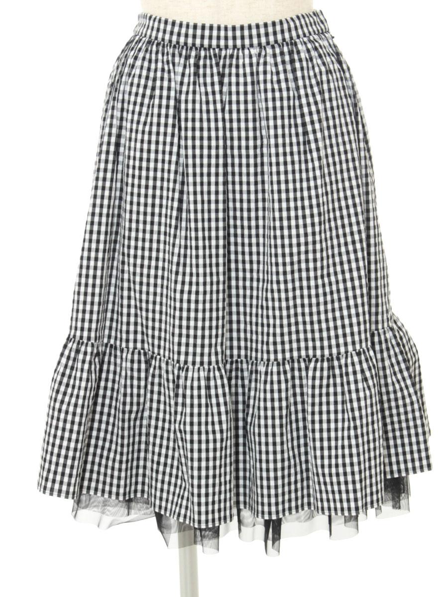 エムズグレイシー スカート Gingham check Skirt 総柄 36【Aランク】【中古】tn200322
