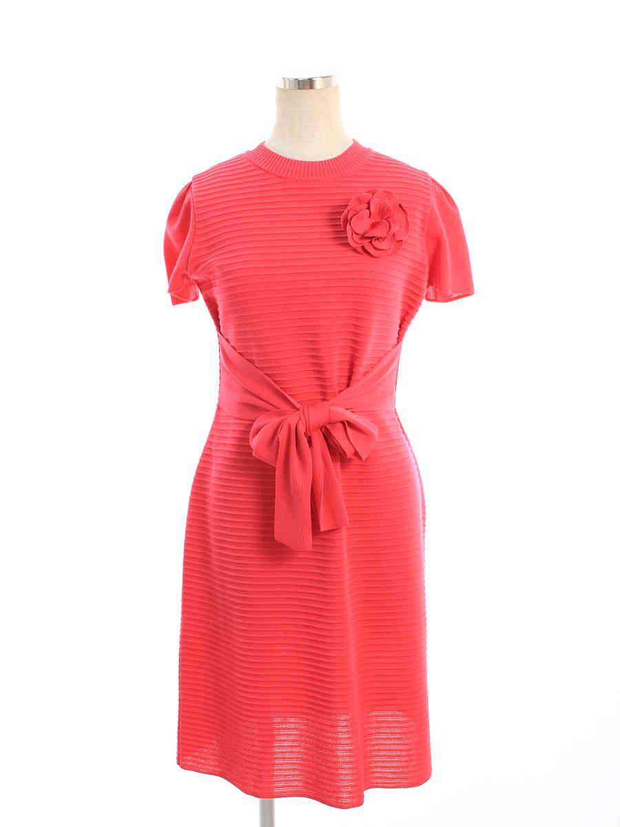 エムズグレイシー ワンピース Belted Knit One-piece 無地 半袖 38【Aランク】 【中古】 tn200709