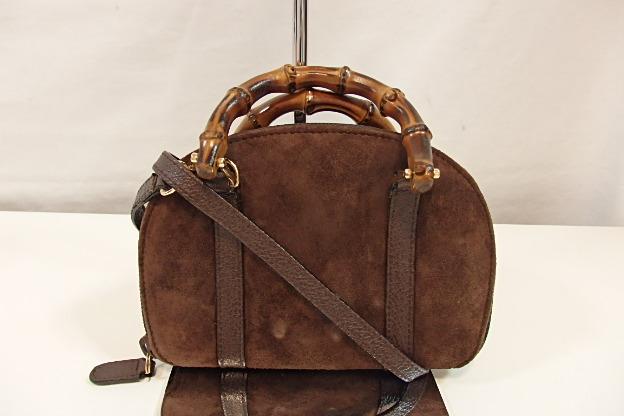 43c5ce8c3302 グッチGUCCIバンブー2wayショルダーバッグポーチ03917050701ブラウン茶スエードレザーミニハンドバッグバッグ鞄