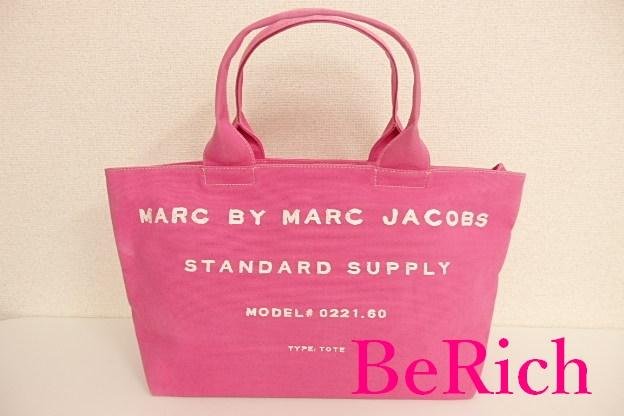 マーク バイ マークジェイコブス ハンドバッグ M0001573 ピンク キャンバス ロゴ トートバッグ MARC BY MARC JACOBS 【中古】 bk5408