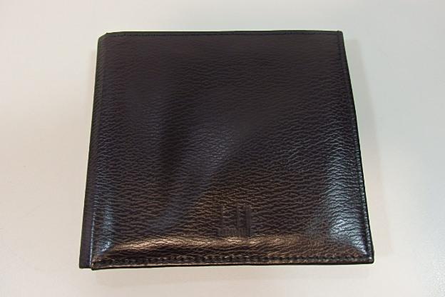 美品 ダンヒル dunhill 二つ折り 財布 レザー WG3010A ブラック 黒 ロゴ 札入れ カード入れ コンパクト ウォレット 財布 紳士 メンズ 【中古】 bs1265