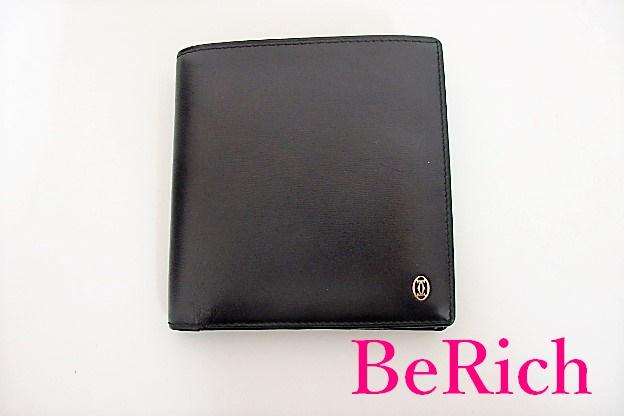 カルティエ 二つ折り 財布 パシャ 黒 ブラック レザー Cartier 【中古】【送料無料】 bs2000