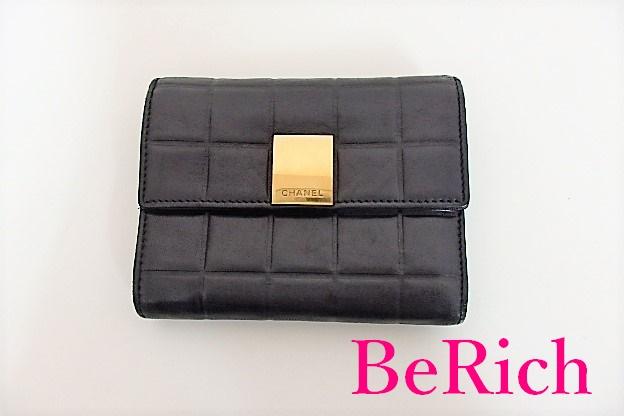 シャネル 三つ折り 長財布 A17811 チョコバー ブラック 黒 ラムスキン 送料無料 流行 超特価 bs2118 CHANEL レザー 中古