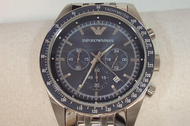 0c414af77b エンポリオアルマーニEMPORIOARMANIメンズ腕時計AR6072クロノデイトクラシックブルー文字盤シルバーSSクォーツウォッチ