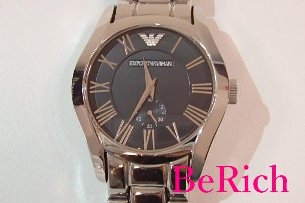 エンポリオ アルマーニ EMPORIO ARMANI メンズ 腕時計 AR 0680 ラウンド 黒 ブラック 文字盤 シルバー ブレス SS スモール セコンド スモセコ ロゴ アナログ クォーツ QZ ウォッチ 時計 紳士 【中古】 bt1460