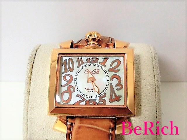 ガガミラノ ナポレオーネ 6031.2 レディース 腕時計 SS/レザー クォーツ ホワイトシェル文字盤 【中古】【送料無料】 ht2285