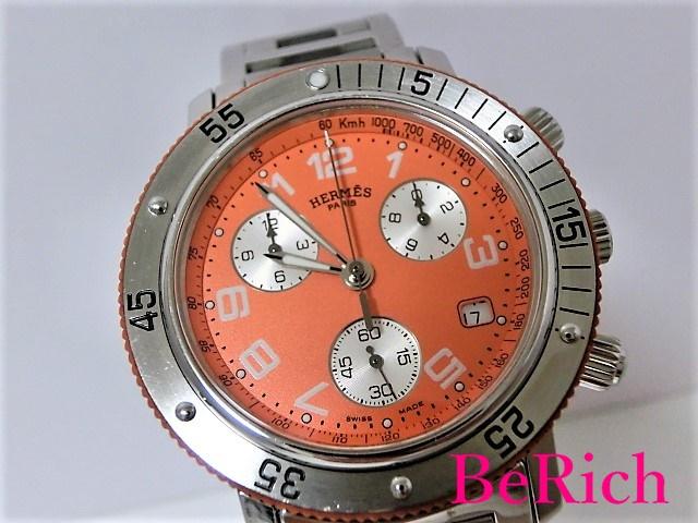 美品 エルメス クリッパー クロノグラフ CL2.916 メンズ 腕時計 デイト オレンジ文字盤 SS HERMES 【中古】【送料無料】 mk2018
