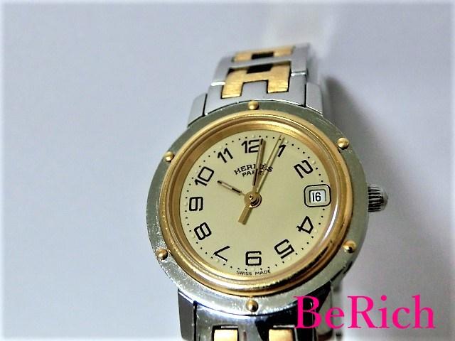 エルメス クリッパー CL4.220 レディース 腕時計 デイト アイボリー文字盤 SS HERMES 【中古】【送料無料】 mk1987