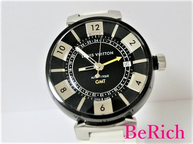 ルイ ヴィトン Q113K タンブール インブラック GMT デイト メンズ 腕時計 100m防水 自動巻き SS/ラバー ブラック文字盤 LOUISVUITTON 【中古】 【送料無料】mk2046