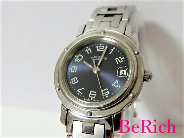 エルメス クリッパー CL4.210 レディース 腕時計 デイト ネイビー文字盤 SS クォーツ QZ HERMES 【中古】【送料無料】 bt1453