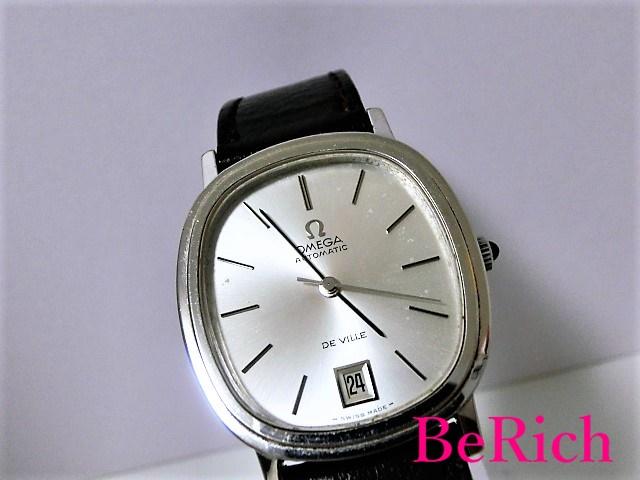 OH済 オメガ デヴィル Cal1012 162.0063 メンズ 腕時計 自動巻き AT デイト オーバル SS/レザー シルバー文字盤 OMEGA 【中古】【送料無料】 bt1465