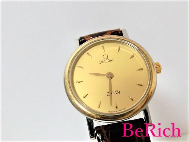 オメガ Cal1470 デヴィル レディース 腕時計 クォーツ QZ SS/レザー ゴールド文字盤 OMEGA 【中古】 bt1466