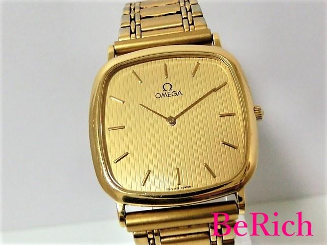 オメガ Cal1378 デヴィル クォーツ QZ GP/SS メンズ 腕時計 アンティーク ゴールド文字盤 OMEGA 【中古】 bt1499