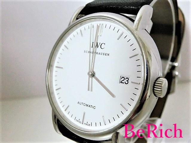 美品 IWC IW353301 ポートフィノ シャフハウゼン デイト 自動巻き AT SS/レザー メンズ 腕時計 ホワイト文字盤 【中古】【送料無料】 bt1513