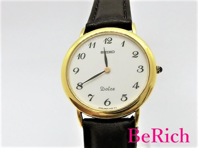 セイコー ドルチェ 8N40-6080 ボーイズ 腕時計 K18YG 750 無垢 クォーツ QZ ホワイト文字盤 SEIKO 【中古】 【送料無料】 ht2633