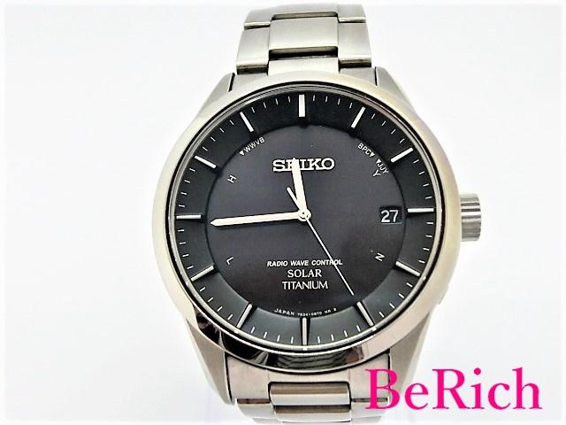 美品 セイコー 7B24-0BB0 チタン ソーラー デイト 100m防水 メンズ 腕時計 チタン ブラック文字盤 SEIKO 【中古】 ht2693