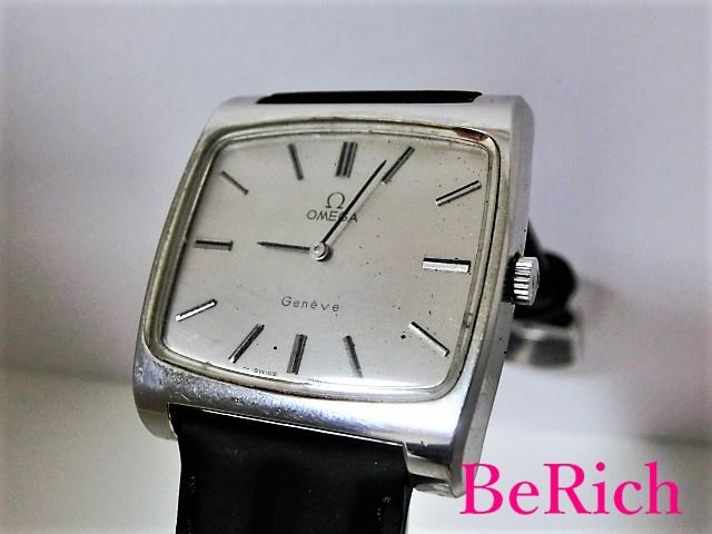 オメガ ジュネーブ アンティーク メンズ 腕時計 スクエア 手巻き SS/レザー シルバー文字盤 OMEGA 【中古】 【送料無料】 bt1447