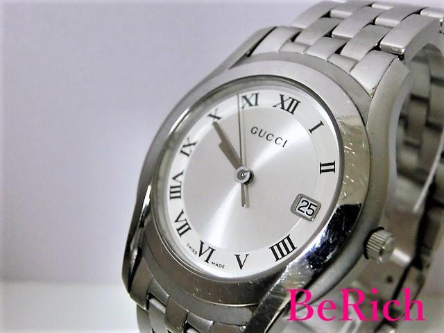 グッチ 5500M メンズ 腕時計 デイト SS シルバー文字盤 GUCCI 電池交換済み 【中古】 bt1474